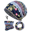 Opromo 2 in 1 Double Layer Cotton Printed Baggy Slouchy Beanie Chemo Hat Scarf Skull Cap - 19 Patterns