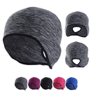 Opromo Runners' Fleece Beanie with Ponytail Slot and Full Ear Coverage Women's Ponytail Hat Skiing Skull Cap