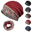Opromo 2 in 1 Lace Knit Baggy Slouchy Beanie Scarf  Hat Skull Cap with Floral Lace