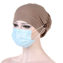 Opromo Women's Adjustable Ruffle Turban Beanie Hat with Elastic Band and Buttons for Mask, Chemo Cap for Cancer Patient