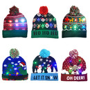 Opromo Christmas LED Light Up Hat Beanie Knit Cap for Adult Kids, Colorful LED Xmas Christmas Beanie