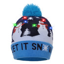 Opromo Xmas Christmas New Year Party LED Light-Up Knitted Beanie Knit Hat for Adult Kids - 3 Flashing Modes,Reindeer Snowman Beanie