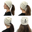 Opromo Womens Ponytail Messy Bun Beanie Hat with Cross Bands,Slouchy Chunky Knit Hat Cap for Women