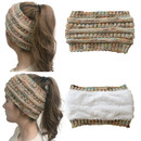 Opromo Fleece Lined Fuzzy Chunky Tail Beanie Cable Knit Headband Ponytail Beanie Hat