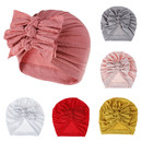 Opromo Baby Girls Turban Hats with bows,Turban Bun Knot Infant Baby Toddler Head Wrap Beanie Baby Girl Soft Cute Cap