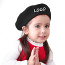 Custom  Kids 60% Wool Blend French Dome Beret Hat for Girls