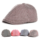Opromo Kids Cotton Stripe Newsboy Cap Child Flat Cap Duckbill Driver Cabbie Hat
