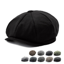 Opromo Mens Classic 8 Panel Wool Blend Ivy Newsboy Cap Snap Brim Collection Hat