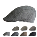 Opromo Men's Herringbone Wool Tweed Newsboy Gatsby Ivy Cabbie Driving Hat Flat Cap