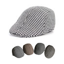 Opromo Men's Houndstooth Wool Tweed Newsboy Ivy Cabbie Driving Hat Duckbill Cap