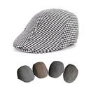 Opromo Men's Houndstooth Wool Tweed Newsboy Ivy Cabbie Driving Hat Duckbill Cap