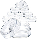 Muka 12 PCS 10g Round Clear Plastic Jars with Screw Caps for Beads, Nail Art, Glitter, Make Up, Cosmetics