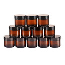Muka 100g PET Amber Round Jars with White Inner Liners and black Lids