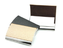 Business Style Arched Stainless Steel & Leather Card Holder, 3-7/8