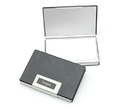 Premium Aluminum & Leather Business Card Holder, 3-3/4