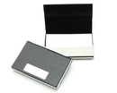 Stainless Iron & Leather Business Card Holder, 3-3/4