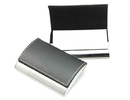 Arched Stainless Iron Business Card Holder with Stitched Leather Cover, 3-13/16