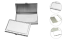 Brushed Stainless Steel Business Card Holder with Border,3-5/8