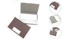 Brown Stainless Iron Business Card Holder with Leather Cover, 3-5/8