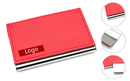 Red Stainless Steel Business Card Holder with Leather Cover, 3-3/4