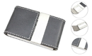 Black Business Card Holder with Single Stitching, 3-7/8