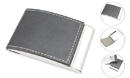 Arched Black Business Card Holder with Leather Cover, 3-7/8