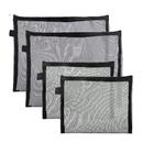 4 PCS 2 Sizes Mesh Zippered Bags Transparent Pencil Pouches Travel Accessories in Black, Pink, White, Blue, Color Random