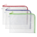 Mesh Plastic Large Bags with Zipper Closure and Business Card Holder Clear Water Resistant Travel and Office Supplies (3 pcs)