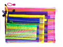 5 PCS Mesh Zipper Pouch Set Rainbow Striped in 5 sizes Travel Bags for Travel Bags Office Supplies Random Color