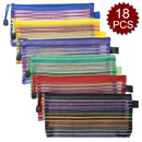 Officeship 18 PCS 6 colors Zippered Mesh Pouches A6 Size Document Folders Small Travel Bags Pencil Case School Supplies for Kids Boys Girls