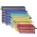 Officeship 10 PCS 5 Sizes Mesh Zipper Pouches A4 Letter Assorted Size Clear Large Small Set Multipurpose Rainbow Striped Travel Bags in 5 Colors for Office School Supplies