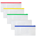 Officeship Poly Zipper Envelope File Folders Transparent A6, Check-size File Bags, Pen Pouches Pencil Case 5 Colors