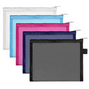 A4 A5 Mesh Zippered Bags Transparent Pencil Pouches Travel Accessories in Black, Pink, White, Blue, Navy Blue, Color Random