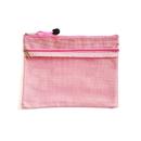 Blank Double Zip Lock Mesh Document Wallet, Oxford Cloth, 9 1/2