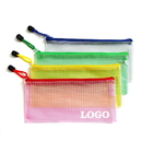 Custom Soft PVC Zip Closure Mesh File Sleeve, 9 1/4