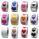 500 PCS 0.75 Inch Removable Heart Stickers  - In Stock