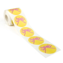 250 pcs Breast Cancer Awareness Sticker Roll - Pink Bow Stickers, Gold Background, 2