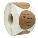 Officeship 500 PCS 1 Inch Homemade with Love Labels, Handmade with Love Stickers, Kraft Label Stickers for Gifts