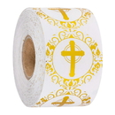 Officeship 500 PCS 1 Inch Religious Stickers Gold Foil Cross Stickers, Silver Cross Design Round Labels with Gold Foil Finish