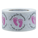 Officeship 500 PCS 1 Inch Baby Shower Stickers, Thank You for Showering Us with So Much Love Foot Print Labels