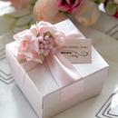 Custom Pink Flower Elegant Wedding Gift Box with Custom Tag, 2.56