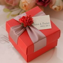 Personalized Elegant Small Red Flower Wedding Favor Box with Custom Tag, 2.3