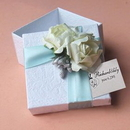 Personalized White Wedding Favor Boxes with Two White Flowers, 2.56