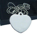 Custom Stainless Heart Shaped Dog Tag with Ball Chain, Laser Engraved