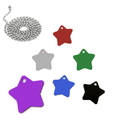 Custom Aluminum Star Shaped ID Tags with Ball Chain, Laser Engraved