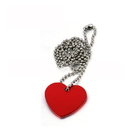 Custom Aluminum Heart Shaped ID Tags with Ball Chain, Laser Engraved