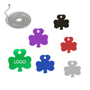 Custom Aluminum Clover Shaped ID Tags with Ball Chain, Laser Engraved