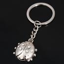 Custom Novetly Rhinestone Ladybug Shaped Key Chain, Laser Engraved