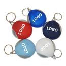 Custom Microfiber Cleaning Cloth Rubber Holder Key Chain w/Silver Edge, 2 1/4