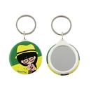 Custom Eco-friendly Tin Mirror Key chain, 1 3/4